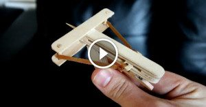 Homemade mini-crossbow fires toothpick bolts with surprising accuracy