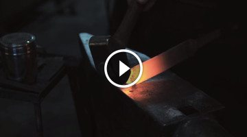 Master blacksmith forges knives from wagon wheels