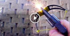 With a few household items he makes a shockingly powerful mini-crossbow
