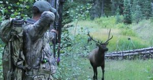 Hunter risks a frontal shot on bull elk for a dramatic take down
