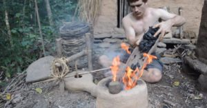 Survivalist hand-builds primitive forge completely from scratch
