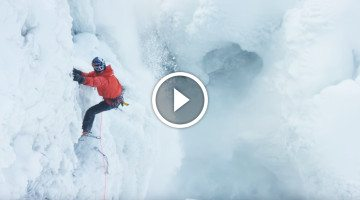 He makes history scaling frozen Niagara Falls. You have to see this!