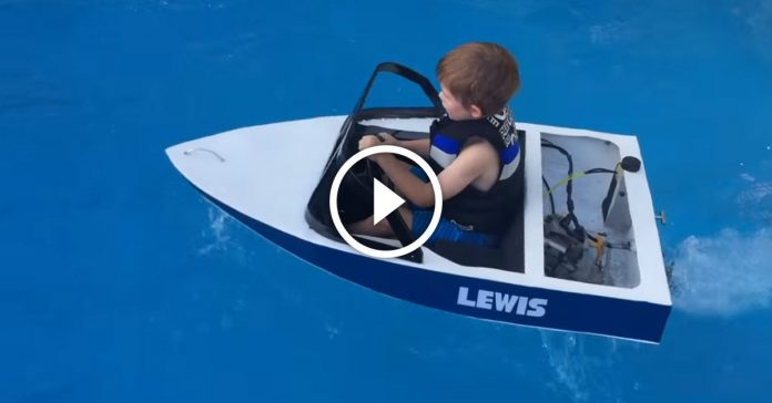 Dad Builds Awesome Miniature Gas Powered Ski Boat For Kids