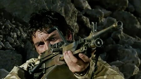 A closeup of the FN MINIMI prototype as Dinger takes aim when the patrol is compromised in Bravo Two Zero_imfdb