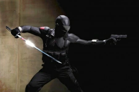 A publicity still of Ray Park as Snake Eyes wielding a sword and the FN FiveseveN_imfdb