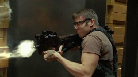 Daniel Jackson fires a FN P90 in Enemies (Season 5, Episode 1)_imfdb