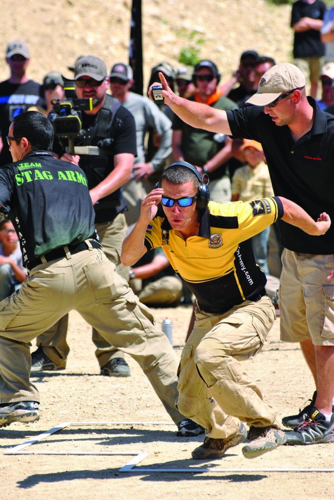 Kalani Laker (left) and Daniel Horner go head-to-head in a 3-Gun Nation Shoot-off.