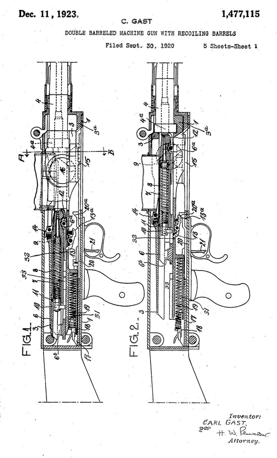 DOUBLE BARRELED MACHINE GUN WITH RECOILING BARRELS