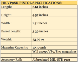 HK VP9SK Pistol SPECIFICATIONS