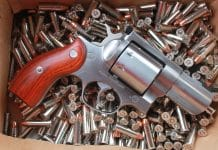 Ruger Redhawk 357 magnum revolver on ammo bed