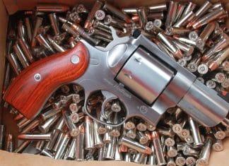 Ruger Redhawk 357 magnum revolver on ammo bed