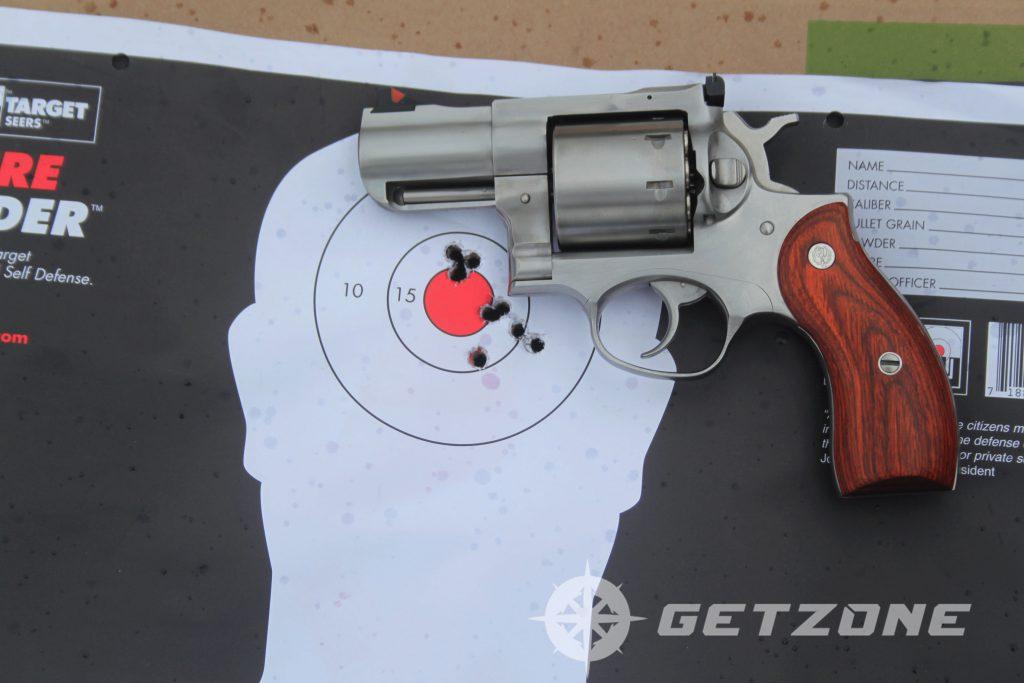 Ruger-Redhawk-357-magnum-revolver-on-target