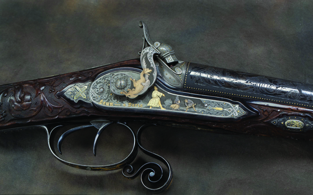 "J.C.A. Brun Double Barrel 16-gauge Percussion Shotgun Nicknamed ""The Devil's Shotgun,"" this crafted and cased 16-guage percussion shotgun won a medal at the 1849 Paris Exposition."